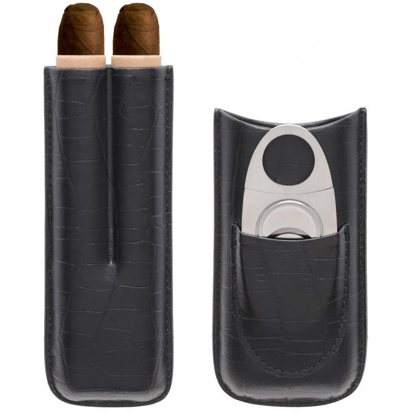 Etui 2 cigares avec coupe-cigare Myon noir