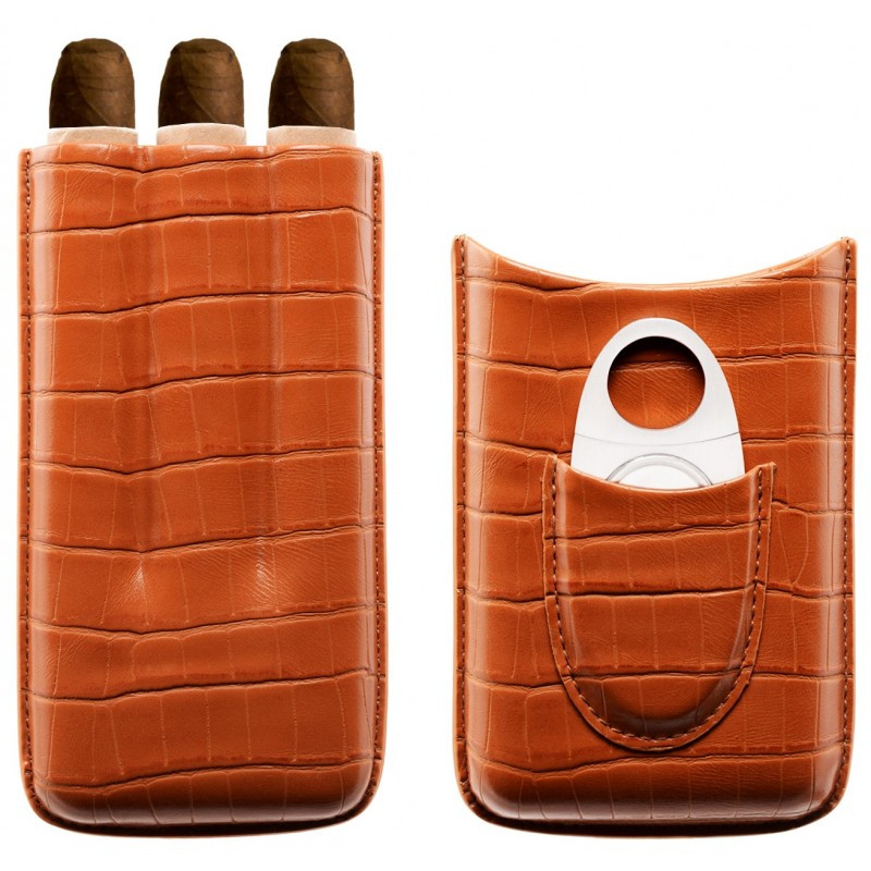 Etui 3 cigares avec coupe-cigare Myon marron